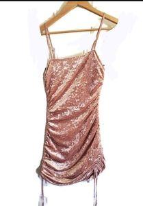Pink Crushed Velvet Ruched Mini Dress/Cocktail Sm